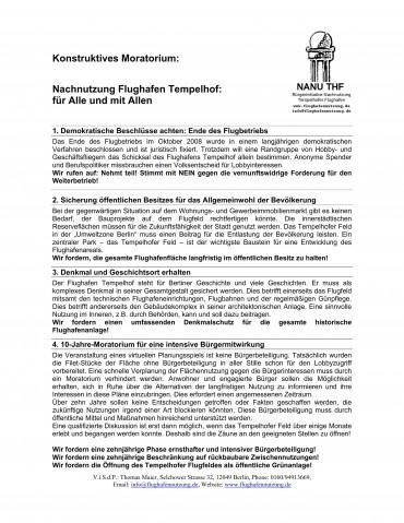 Gründung der Bürgerinitiative NaNu THF