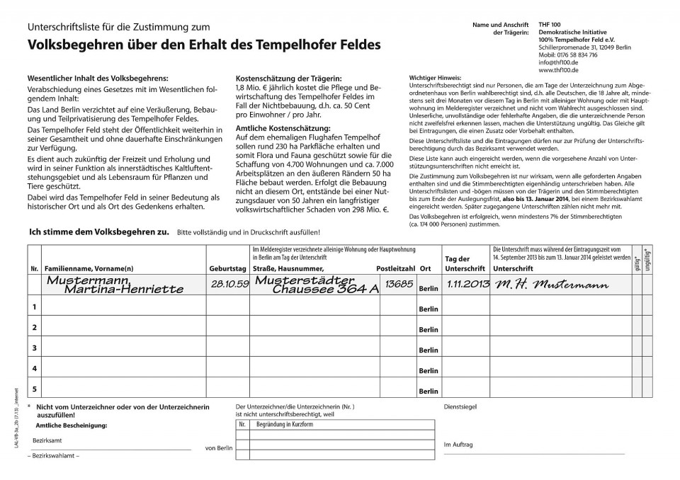 Volksbegehren Tempelhofer Feld braucht bis 13. Januar 173.000 Unterschriften