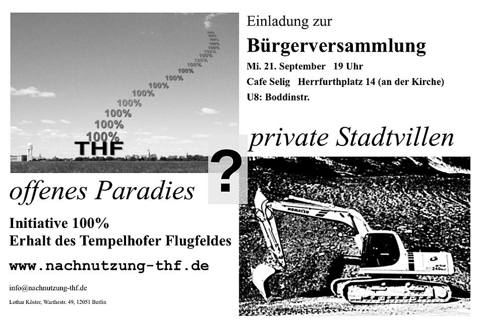 Initiative 100% Erhalt des Tempelhofer Flugfeldes