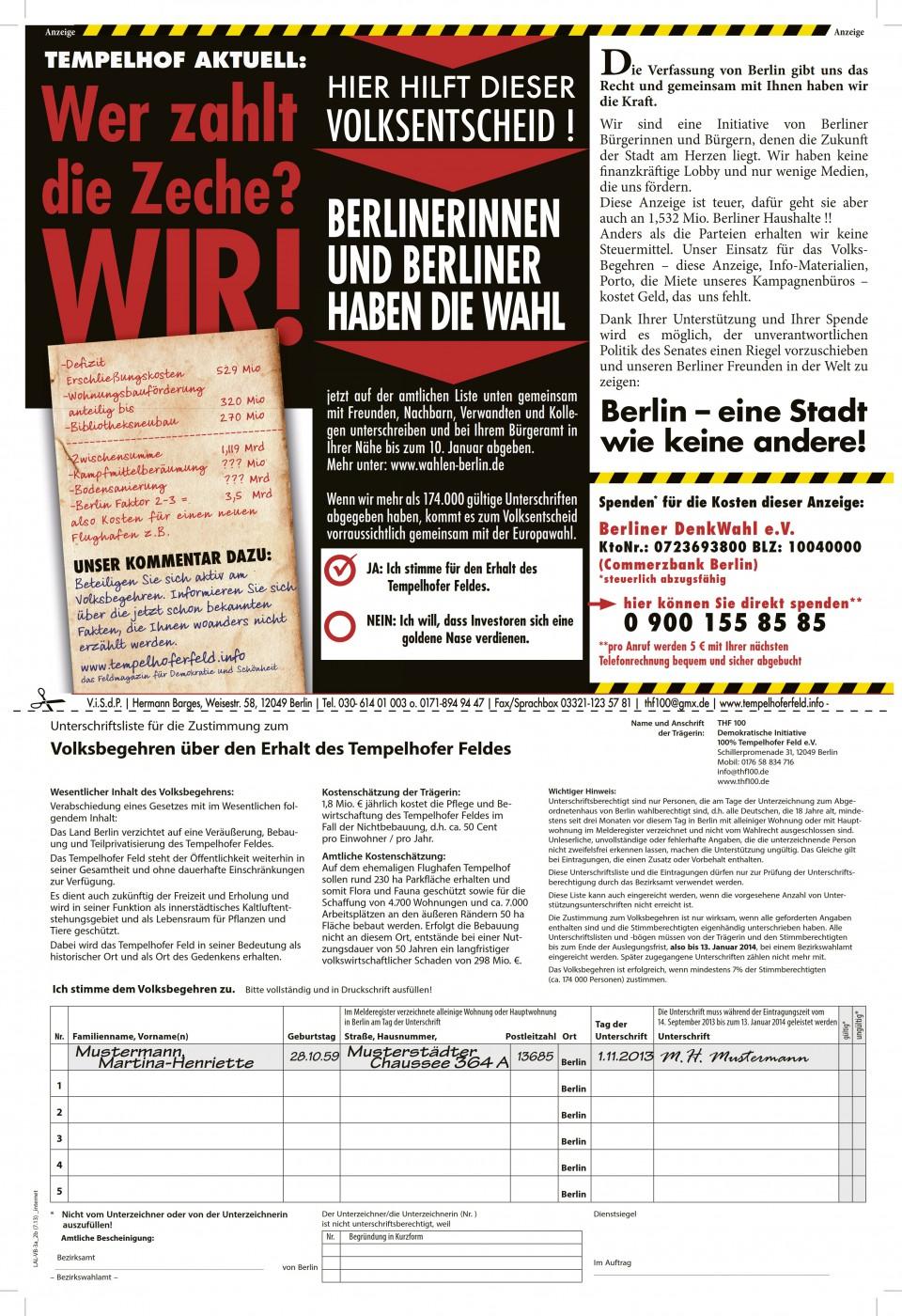 Spendenaufruf für Anzeige für das Volksbegehren Tempelhofer Feld